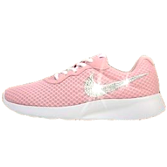 Womens Nike Sneakers Shoes Swarovski Crystals Tanjun - Pink / White