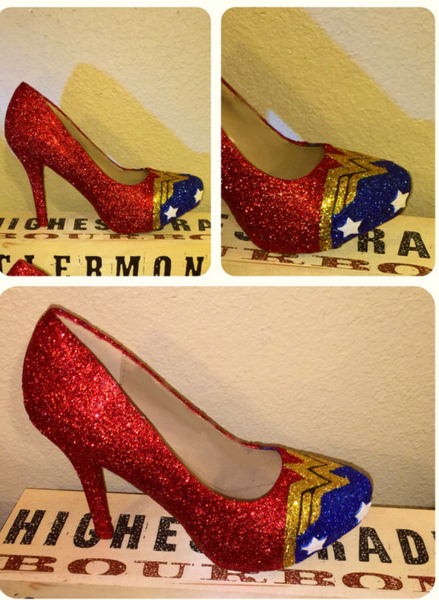 Women's Sparkly Super Hero Glitter high & low Heels Stiletto shoes - Wonder Woman - Glitter Shoe Co