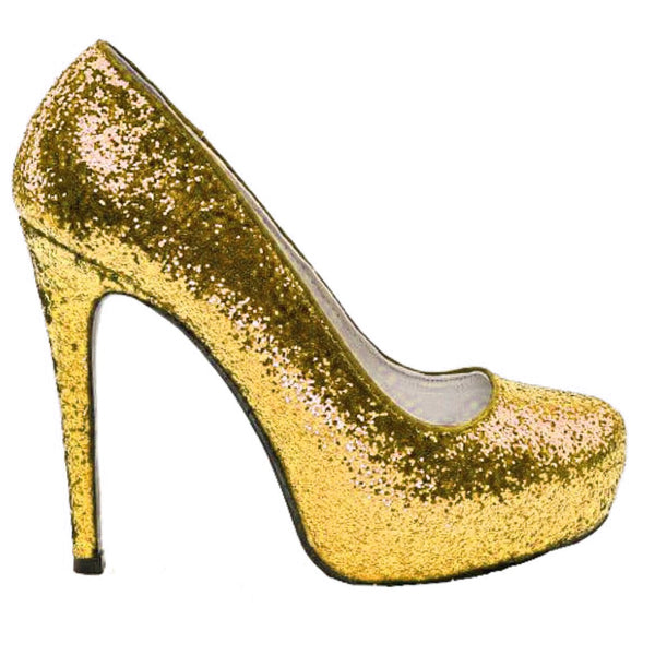 Women's Sparkly Gold Glitter heels Pumps Bridal Wedding Bride Prom comfortable Shoes