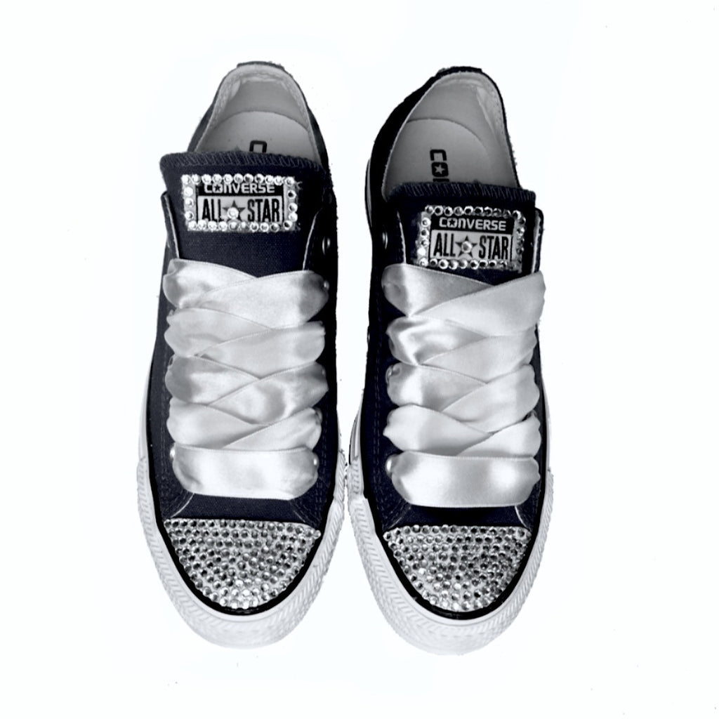 73b54b4501982d Wedding Converse All Star Crystals Sneakers Shoes Black Bride prom –  Glitter Shoe Co