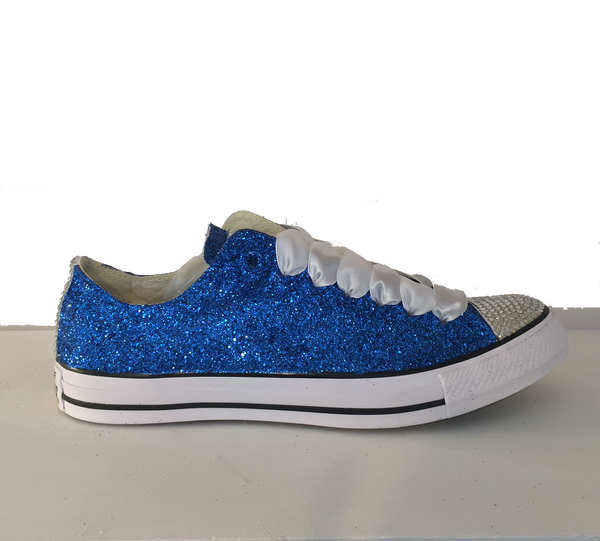 Womens Sparkly Royal Blue Glitter Crystals Converse All Star wedding bride prom shoes
