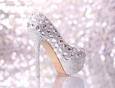SALE Crystal Bling High Heels pumps Wedding Bridal Cinderella shoes