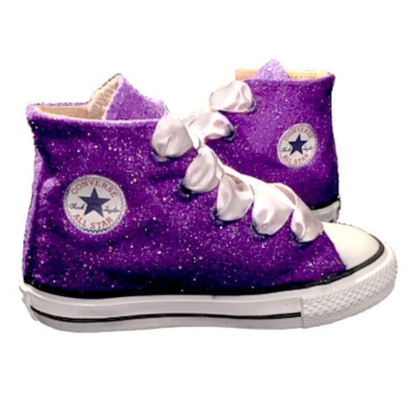 Kids Sparkly Glitter Converse All Stars Bling Crystals Flower Girls birthday Shoes Purple Plum