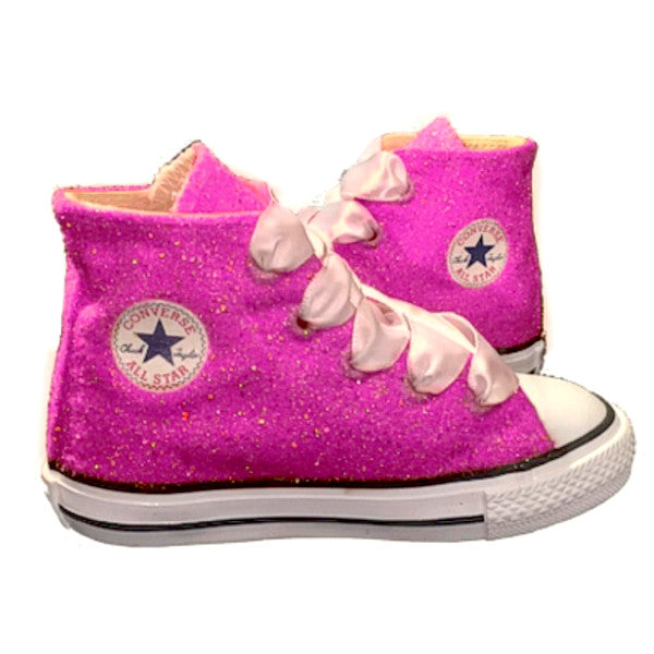 febb523d342 Kids Sparkly Glitter Converse All Stars Flower Girls birthday Shoes Pink  Fuchsia