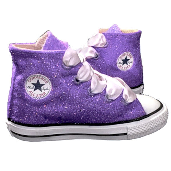 Kids Glitter Converse All Stars Purple Crystals Flower