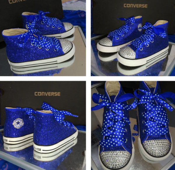 Kids Red Glitter Converse All Stars Bling Crystals Flower Girl Christmas Shoes - Glitter Shoe Co