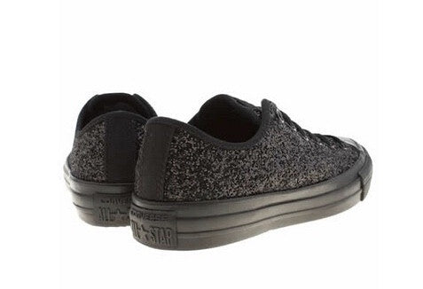 e356df1ef2a5be ... Sparkly Black Glitter Mono Converse All Stars Low Top Wedding Bride  Prom Shoes - Glitter Shoe