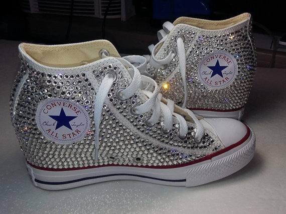 Womens Sparkly Converse All Stars WEDGE Heel Bling Crystals Bride Wedding Shoes - Glitter Shoe Co
