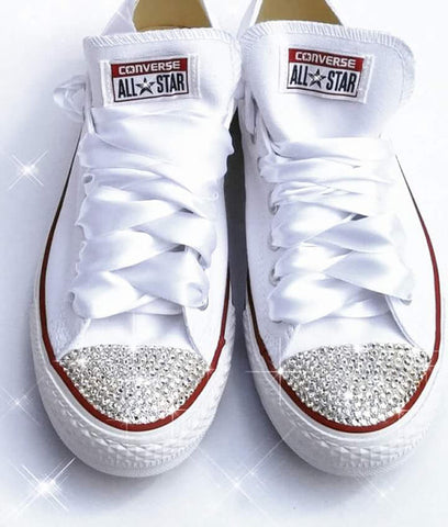 Womens Converse All Star Swarovski Crystals Bling Sneakers Shoes White Wedding Bride - Glitter Shoe Co