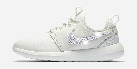 Womens Nike Shoes Swarovski Crystals Roshe Two - White / White - Glitter Shoe Co