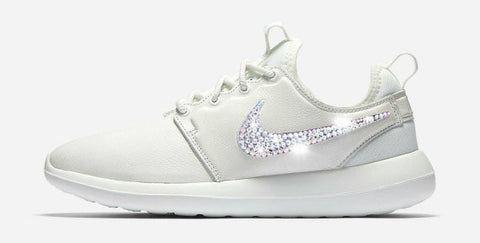 67f810204 Womens Nike Shoes Swarovski Crystals Roshe Two - White   White - Glitter  Shoe Co