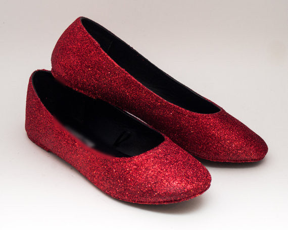 Womens Sparkly Cherry Red Glitter Ballet Flats Wedding Bride Prom Shoes Pin Up - Glitter Shoe Co