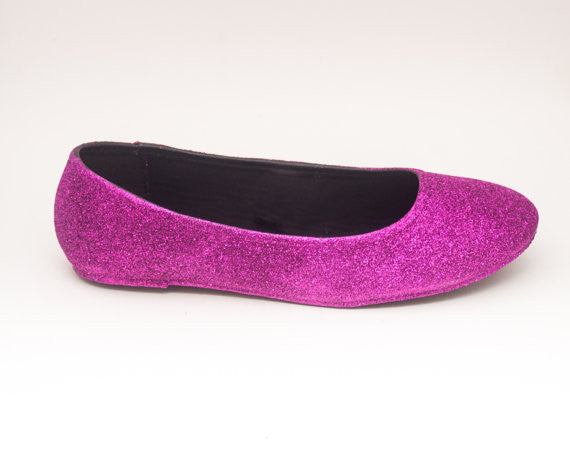 Women's Sparkly Fuchsia  PINK Glitter Ballet Flats Wedding Bride Princess Prom Shoes - Glitter Shoe Co