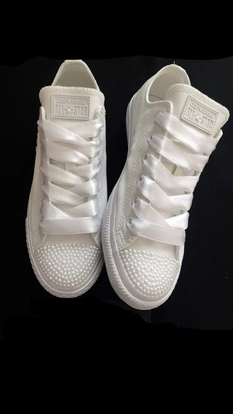 Womens Converse All Star Mono White Pearls Sneakers Shoes wedding Bride - Glitter Shoe Co