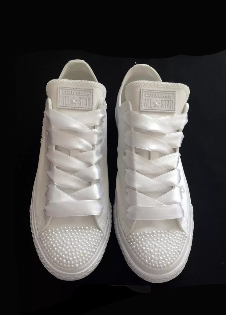 5b2071b524ec36 Womens Converse All Star Mono White Pearls Sneakers Shoes wedding Bride -  Glitter Shoe Co