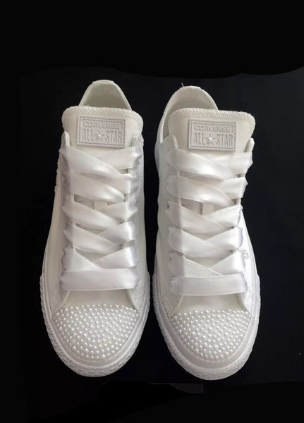 554f3d9680d Womens Converse All Star Mono White Pearls Sneakers Shoes wedding Bride