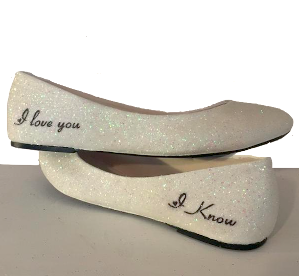 Women's Sparkly White Glitter ballet Flats bride Star wedding shoes Wars