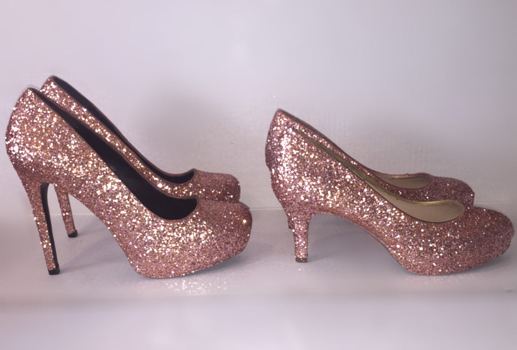 Pink Wedding Shoes Low Heel: Sparkly Metallic Rose Gold Glitter Low Heel Wedding Bride