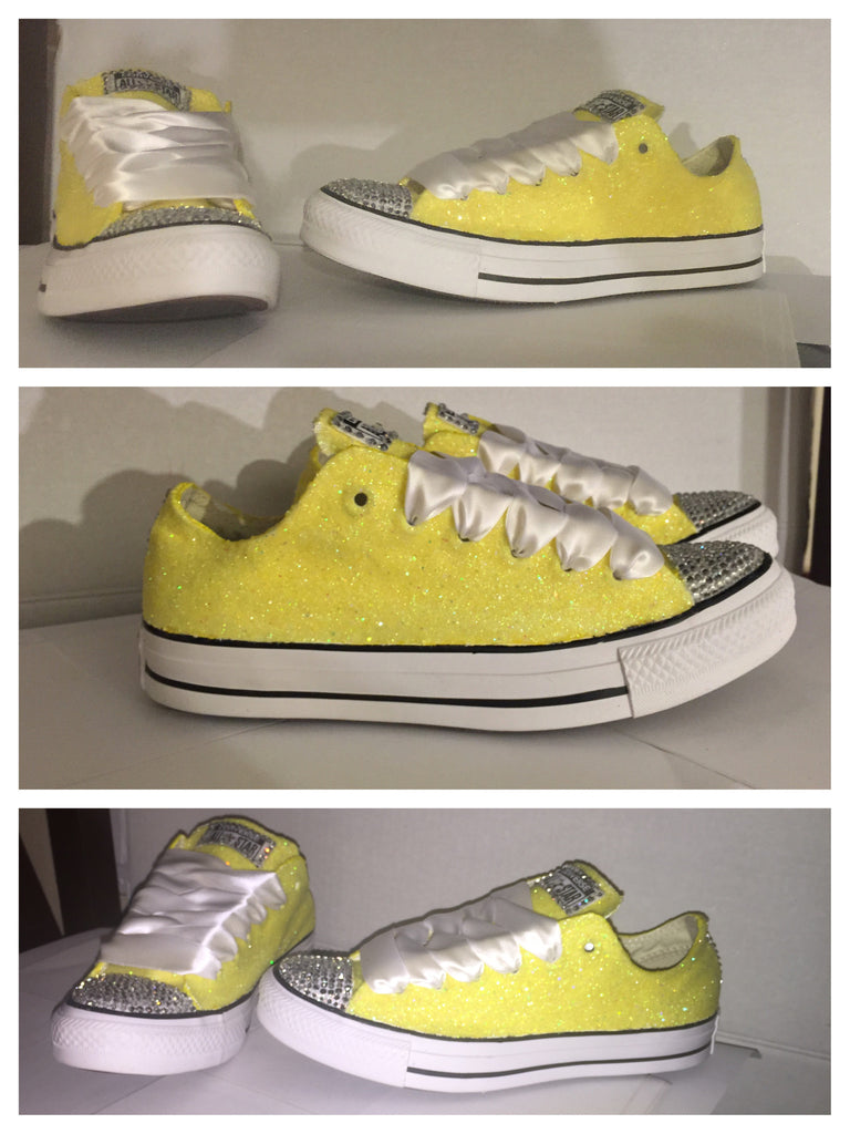 Womens Glitter & Crystals Converse All Stars Canary Yellow - Glitter Shoe Co