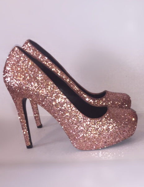 Wide Gold Sparkly Shoes