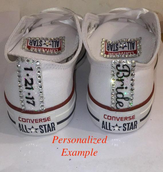 Womans Converse All Star Swarovski Crystals Bling Sneakers Shoes White Wedding Bride