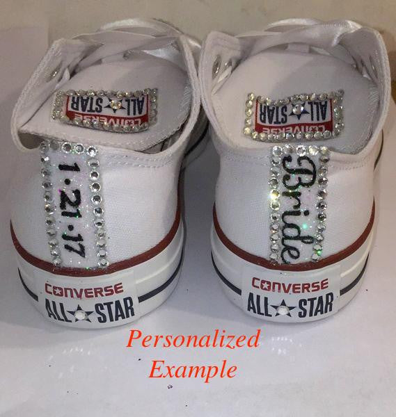 b6e36ccdb3d883 ... Women s Wedding Converse All Star Crystals Sneakers Shoes Black Bride  wedding gift