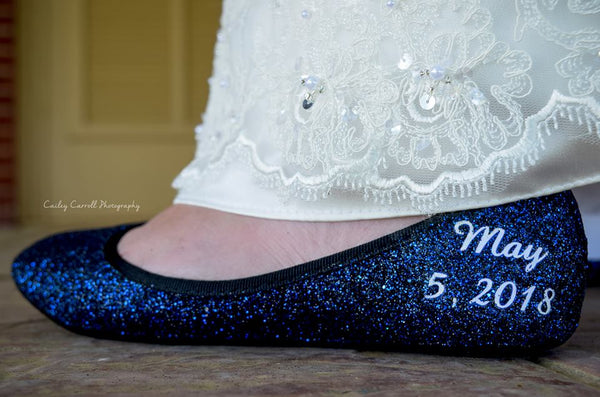 Sparkly Navy Blue Glitter Ballet Flats with Satin ribbon Wedding Shoes - Glitter Shoe Co