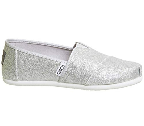 f74b62bb3 Womens Sparkly Silver Glitter Toms Flats shoes bridal Bride Wedding  Comfortable