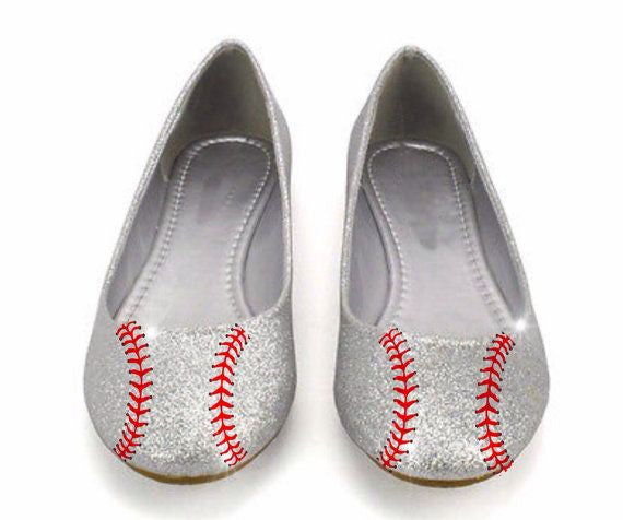 Sparkly Glitter Silver Red Baseball Ballet Flats Bride Wedding Shoes