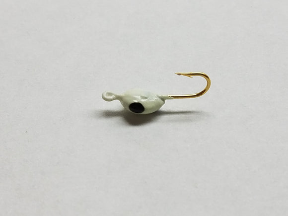 Lady Bug Ice Jig - Glow Black Spots