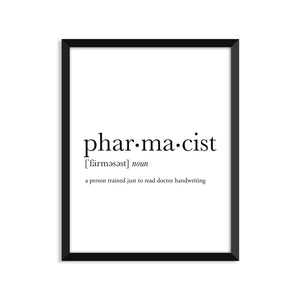 Pharmacist Definition - Unframed Art Print Or Greeting Card