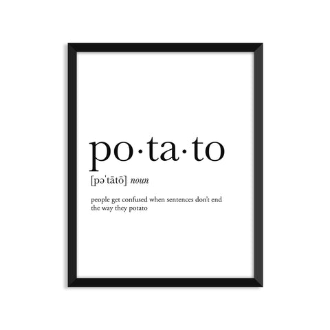 Potato definition art print or greeting card