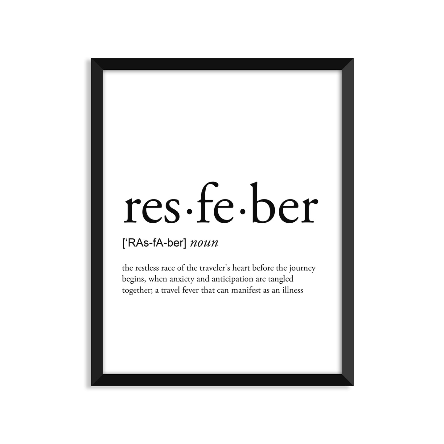 Resfeber Definition - Unframed Art Print Or Greeting Card