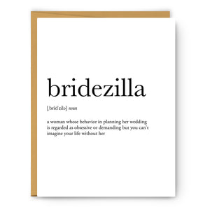 Bridezilla Definition - Unframed Art Print Or Greeting Card