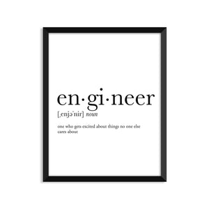 Engineer definition art print or greeting card