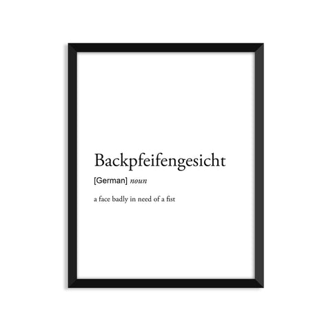 Backpfeifengesicht definition art print or greeting card