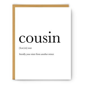 Cousin (Female) Definition - Unframed Art Print Or Greeting Card