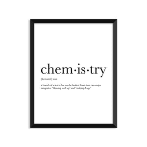Chemistry Definition - Unframed Art Print Or Greeting Card