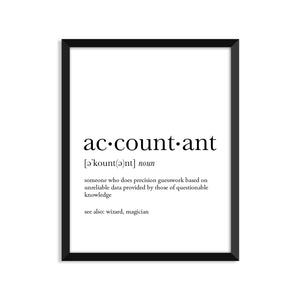 Accountant Definition - Unframed Art Print Or Greeting Card