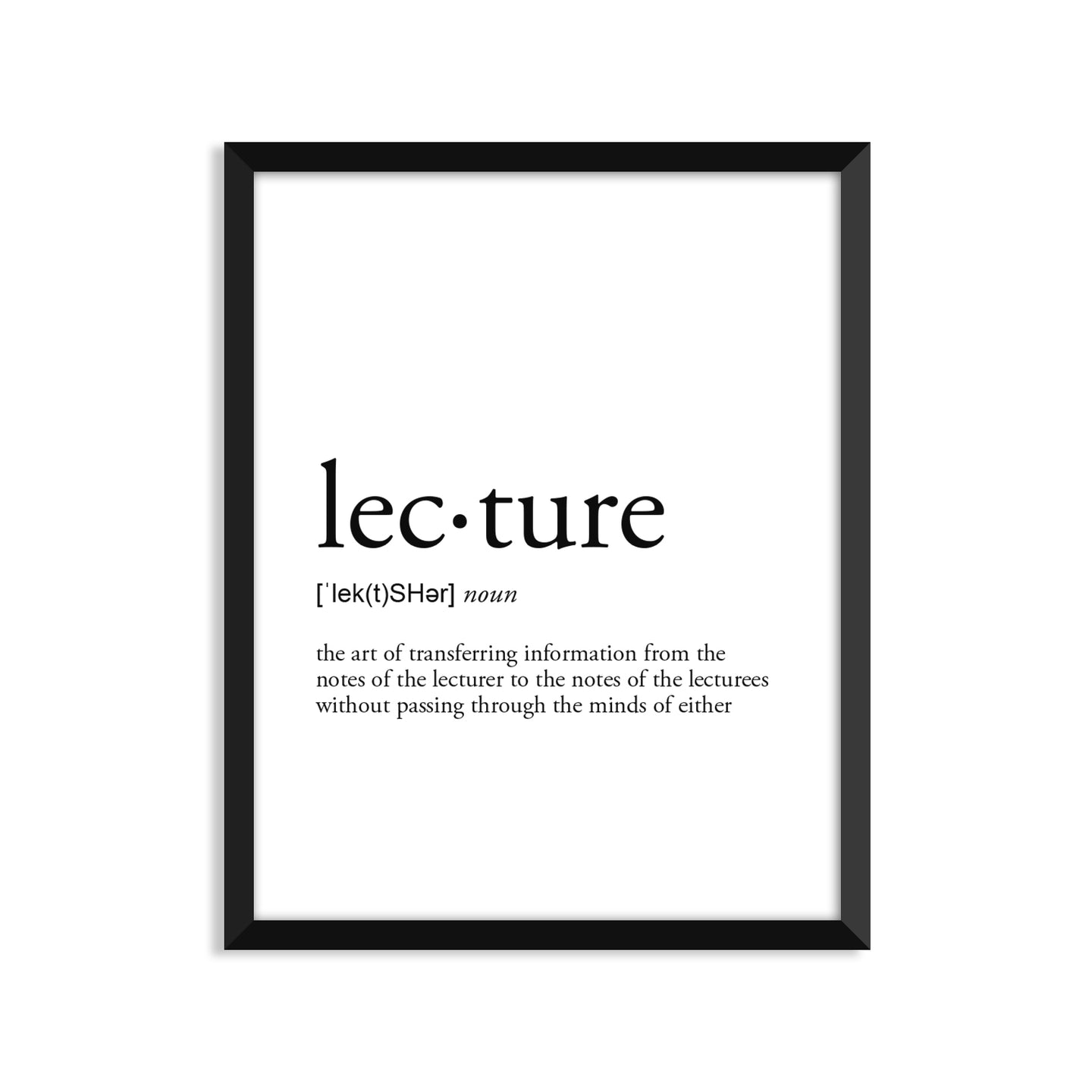 Lecture definition art print or greeting card