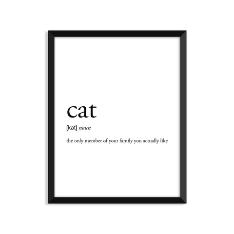 Cat definition art print or greeting card