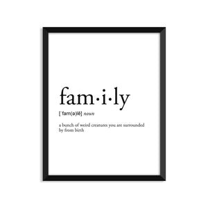 Family Definition - Unframed Art Print Or Greeting Card