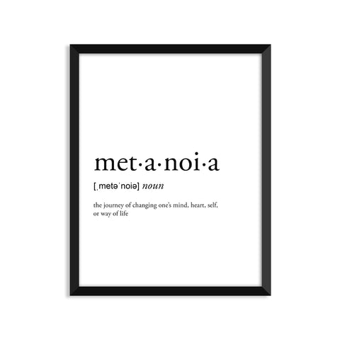 Metanoia definition art print or greeting card