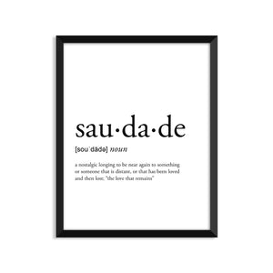 Saudade Definition - Unframed Art Print Or Greeting Card