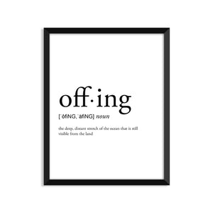 Offing definition art print or greeting card