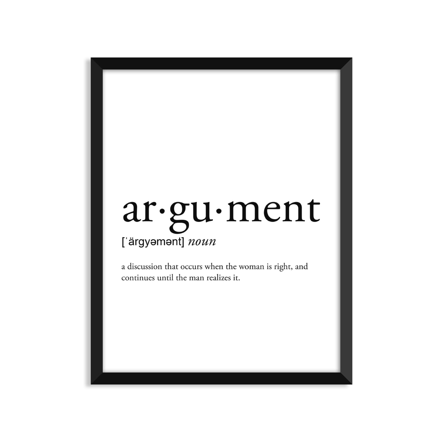 Argument definition art print or greeting card