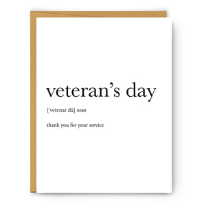 Veteran'S Day Definition - Unframed Art Print Or Greeting Card