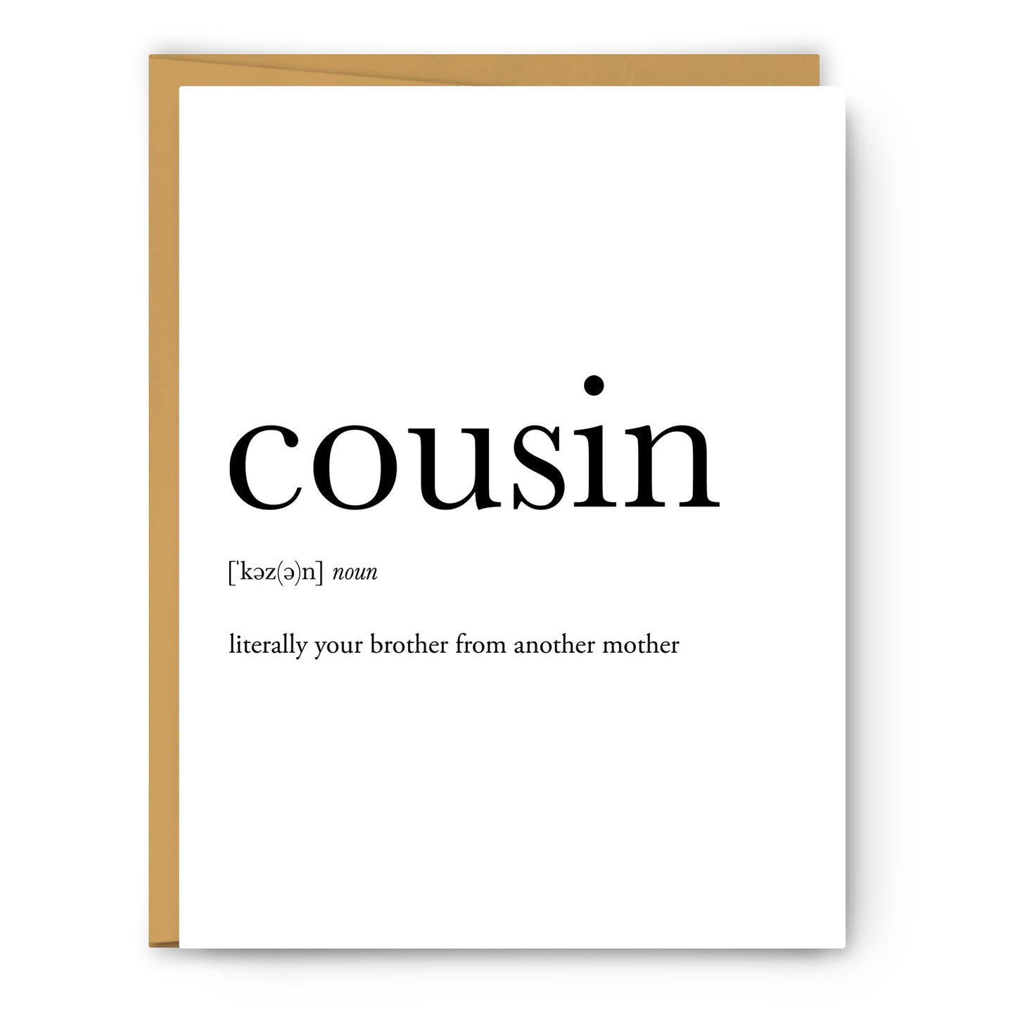 Cousin (Male) Definition - Unframed Art Print Or Greeting Card