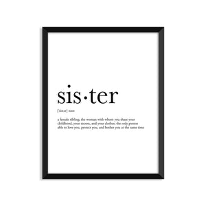 Sister Definition - Unframed Art Print Or Greeting Card