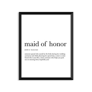 Maid Of Honor Definition - Unframed Art Print Or Greeting Card